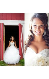 Bling Sweetheart Organza Country crystal beaded Bridal Gown