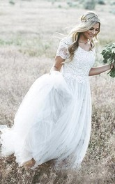 Bohemian Lace Appliques Tulle A-line Wedding Dress With Ruching And Short Sleeve