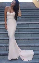 Simple Mermaid Light Pink Evening Long Party Prom Dress
