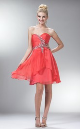 A-Line Mini Sweetheart Sleeveless Chiffon Dress With Ruching And Beading