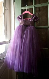 Tulle&Satin&Taffeta Dress With Flower&Sash Ribbon