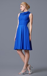 Modest Style High Neck Empire Chiffon Short Dress With Bandage