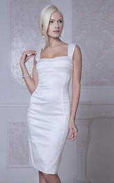 Straps Neck Sleeveless Sheath Knee-Length Satin Wedding Dress