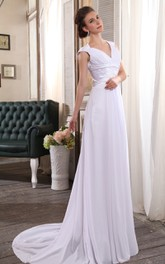 Brilliant Sleeveless V-Neck Column Gown With Ruching And Ruffle