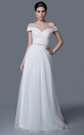 Elegant Off-the-shoulder A-line Tulle Dress With Low-V Back