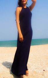 Floor-length Halter Backless Dress