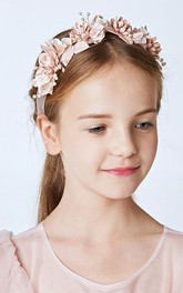 Delicate Hand-Beaded Imports Of Forest-Style Fairy Champagne Flower Hair Band