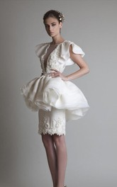 Sheath Jewel Short Sleeve Appliques Ruffles Peplum Knee-length Organza Lace Homecoming Dress