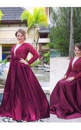 V-neck Long Sleeves Beading Sweep Brush Train Satin Plus Size Dress