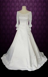 Jewel Puff Sleeve Button Back Long Satin Wedding Dress With Bow And Lace