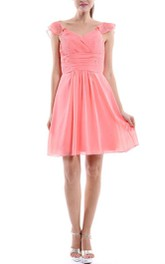 Short Strapped Sweetheart Chiffon Dress