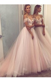 A-line Princess Sleeveless Off-the-shoulder Tulle Beading Floor Length Dress
