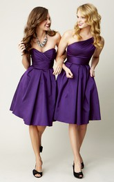 Knee-Length Sleeveless One-Shoulder Ruched Bridesmaid Dress