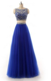 Bateau-neck Two Piece Tulle Prom Dress With Beading