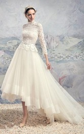 Short High Neck Bell Tiers Embroidery Zipper Tulle Lace Dress