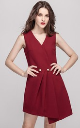 Burgundy Sleevless Surplice Neck Mini Dress with Asymmetric Hemline