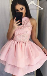A-line Ball Gown High Neck Sleeveless Ruching Tiers Short Mini Satin Lace Homecoming Dress