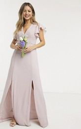 Ethereal Ruching Top V-neck Cap Sleeve Front Split Chiffon Bridesmaid Dress