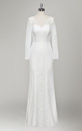 V-Neck Long Sleeve Sheath Lace Wedding Dress