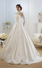 Ball Gown Long High-Neck Long-Sleeve Illusion Satin Dress With Lace