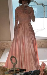 Ball Gown Long Sleeves Off-the-shoulder Beading Satin Floor Length Dress