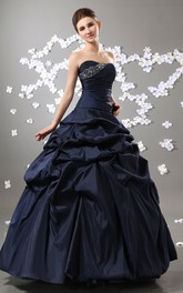 Magnificent Strapless Princess Ball Gown With Crystal Detailing