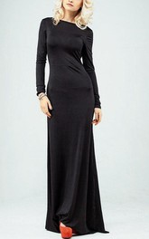 Open Back Long Sleeve Jersey Gown
