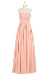 Strapless A-Line Chiffon Dress With Ruching and Pleats