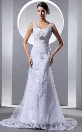 Sweetheart Sleeveless Column Dress With Lace Appliques And Soft Tulles