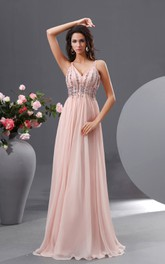 Sweet Empire V-Neck Gown With Spaghetti Straps Shiny Bodice