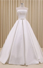 Strapless Princess Corset Wedding Ball Gown Dress With Ruching And Bow Delicated Belt