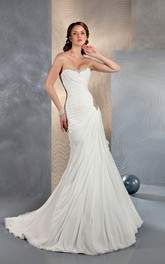 Mermaid Long Sweetheart Sleeveless Corset-Back Chiffon Dress With Beading And Ruching