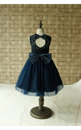 Sleeveless Jewel Neck Pleated Tulle Dress With Bow Sash and Keyhole