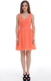A-line Short Knee-length V-neck Chiffon Dress