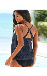 Simple Strap Top With Cross Back Tankini Set