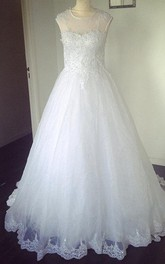 Jewel Neck Short Sleeve A-Line Tulle Wedding Dress With Lace Hem