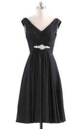 V-neckline Pleated Basque Waist Dress With Crystal