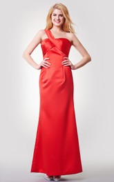 One Shoulder Bandaged A-line Long Satin Dress