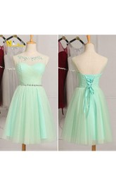 Short A-Line Tulle Sweetheart Illusion Ruched Bodice