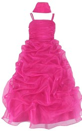 Sleeveless A-line Organza Dress With Ruffles