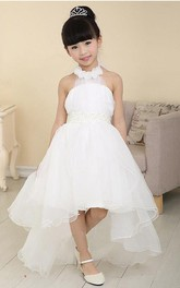 High-Low Tulle Halter Sleeveless Flower Girl Dress with Beads