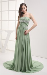 Chiffon Strapless Pleated Maxi Dress with Ruching and Rhinestone