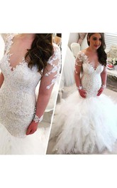 Cascading Ruffles V Neck Long Sleeves Lace Appliques Beaded Elegant Backless Wedding Dress
