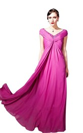 Cap-sleeved Long Gown With V-back and Beadings