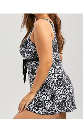 Plus Size Floral/Dotted Top Tankini Set