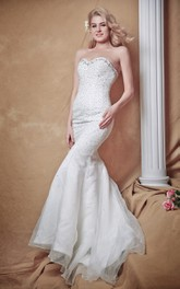 Sophisticated Mermaid Gown With Glittering Bodice and Brush Train