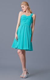 One Shoulder Ruched Bodice Short Dress With Pleats