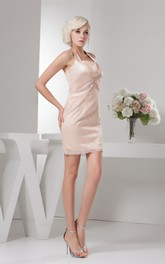 Sleeveless Fitted Short Dress with Broach and Central Ruching
