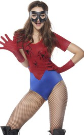 Naughty Blue And Red Spider Man T-shirt Teddy Lingerie With Gloves