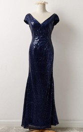 Short Sleeve Sequins Long Dress With Low-V Back